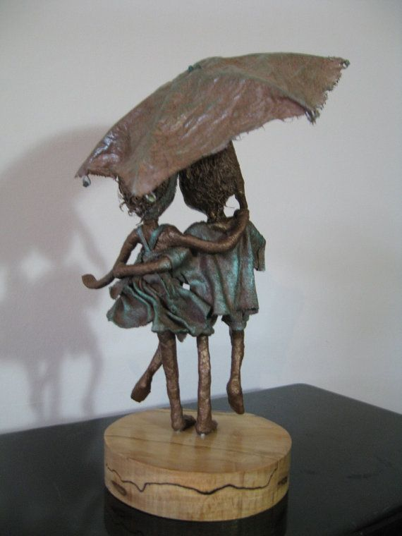 Rainy Days. Sculpture of Children with umbrella. Friendship sculpture. Made to order.