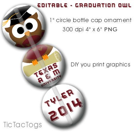 Editable Graduation Ornament Bottle Cap Images Digital School Colors