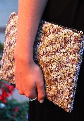 NUDE PATTERNED SEQUIN GLITTER CLUTCH, TIQUE, ASOS MARKETPLACE