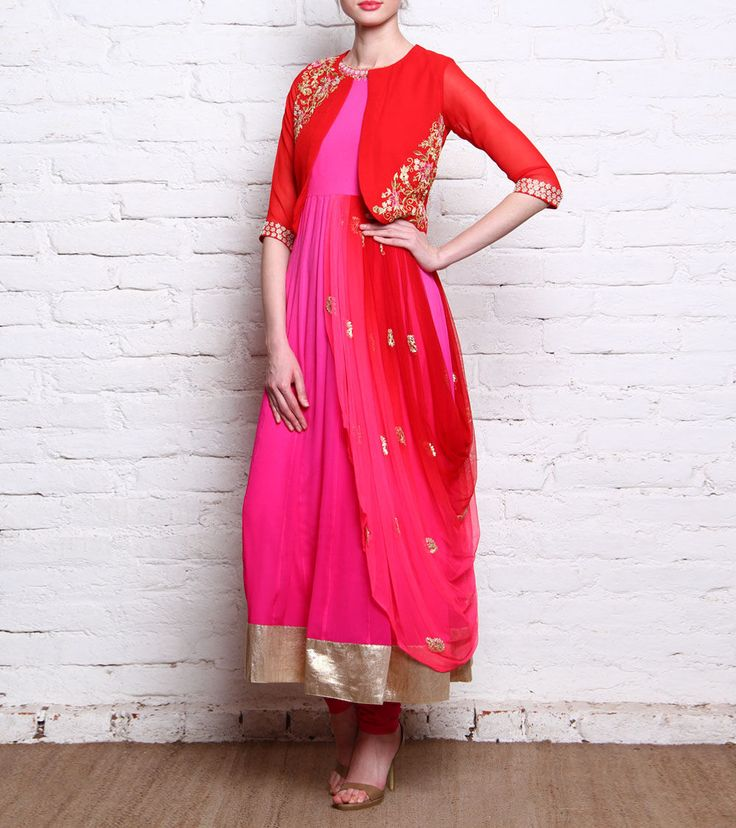 Pink & Red Georgette Anarkali Suit & Jacket Set With Dabka Work