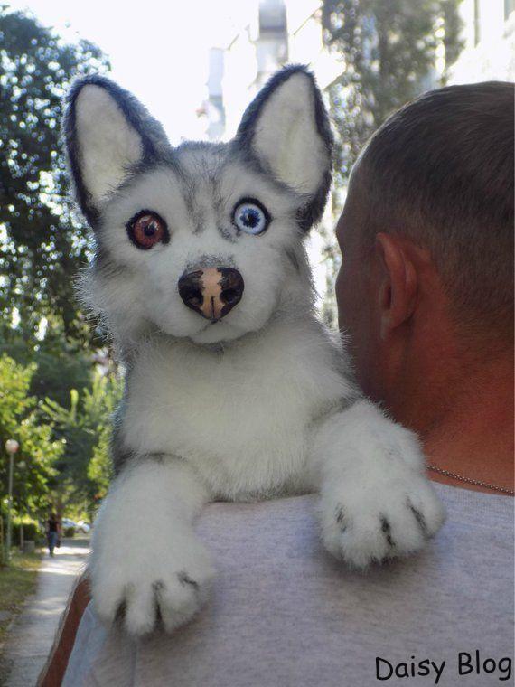 Siberian Husky Scarecrow Dog Ooak Handmade Gifts Animal Art