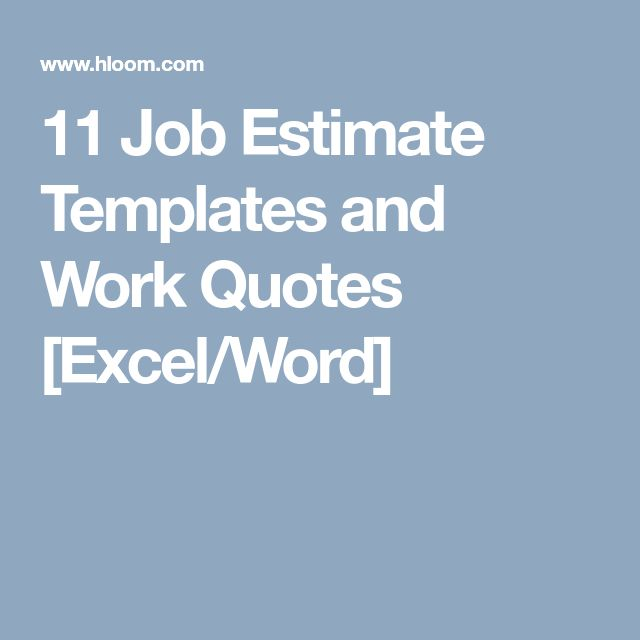 11 Job Estimate Templates and Work Quotes [Excel/Word]