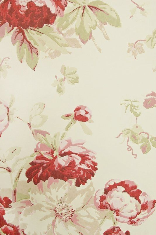 Garden Peony Wallpaper A light taupe wallpaper with large floral print design in Red, Pink and Sage Green.