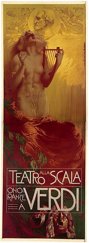 Verdi centenary performance poster from La Scala, Century Guild Gallery, Los Angeles