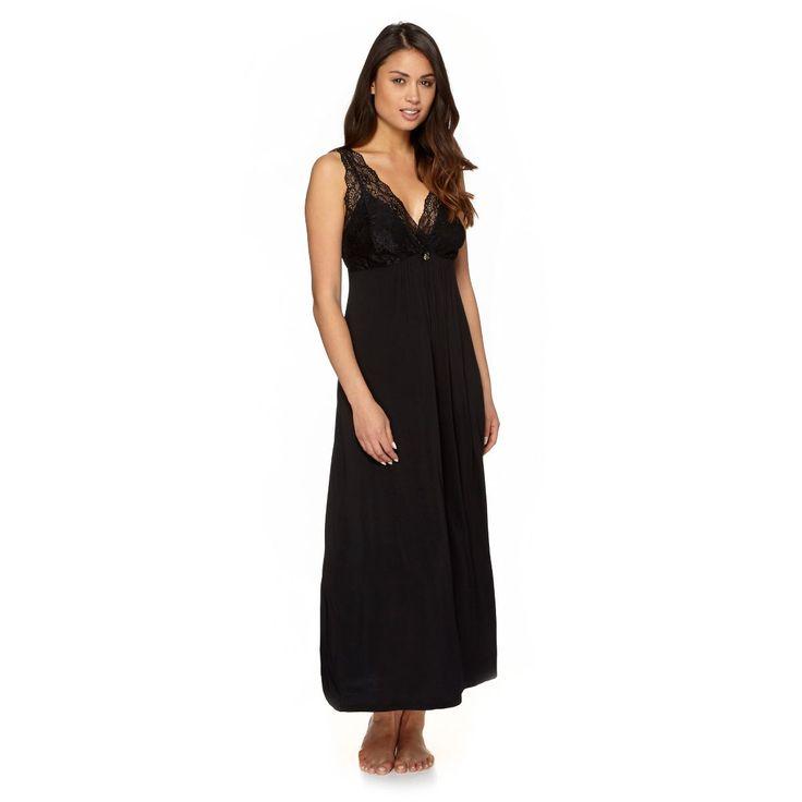 Black lace long length nightdress