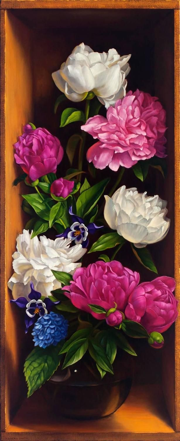 June Peony Mix   From a unique collection of still-life paintings at https://www.1stdibs.com/art/paintings/still-life-paintings/