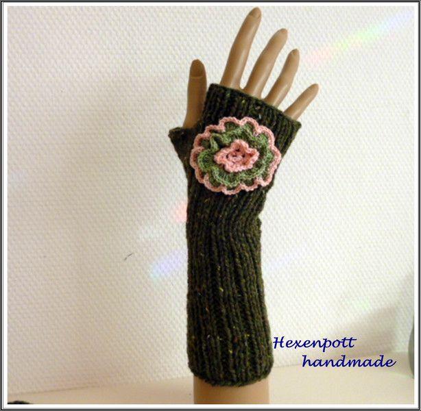 Armstulpen - Stulpen Tweed ROSETTE - ein Designerstück von Hexenpott bei DaWanda