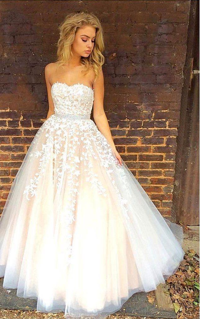 Charming Prom Dress, Tulle Prom Dress, Long Evening Dress, Elegant Appliques Prom Dresses F1955 from fashiondresseess