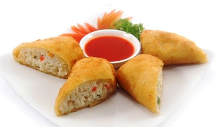 RISOLES BANDUNG. Savory thin crepes with chicken & vegetables ragout inside. Served with chili sauce.