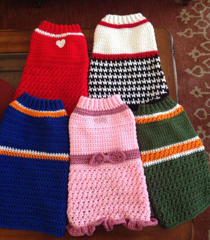 Crochet dog sweaters