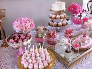 the craft whisperer bridal shower dessert table pink ivory champagne gold theme