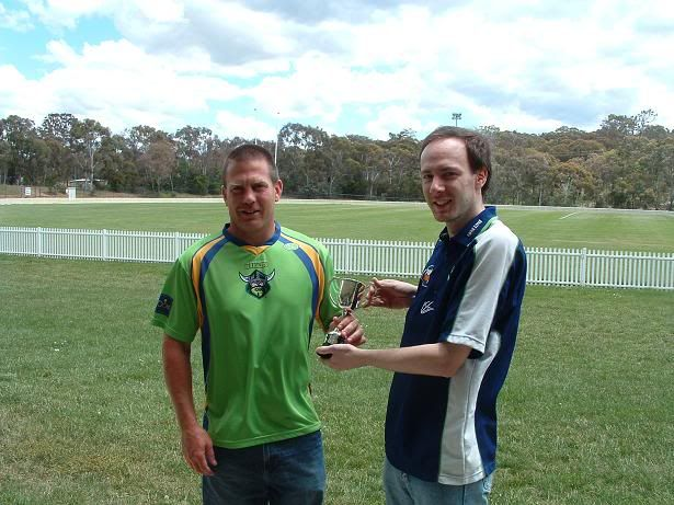 The winner of the Canberra Raiders Fans' Choice Player of the Year was Jason Smith.  He tied with Clinton Schifcofske, but was awarded the trophy on a count back.  The award is voted on each week on a 3-2-1 basis by the readers of The Greenhouse.