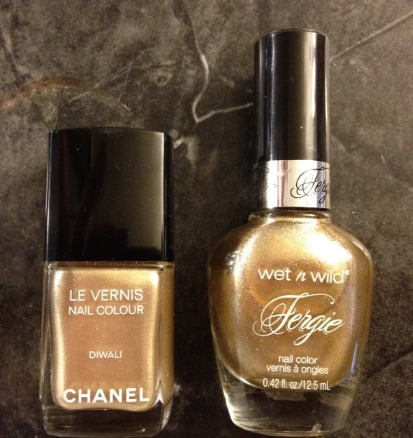 Wet n Wild Fergie Gold Album is an exact cruelty free, inexpensive dupe for Chanel Diwali nail polish.