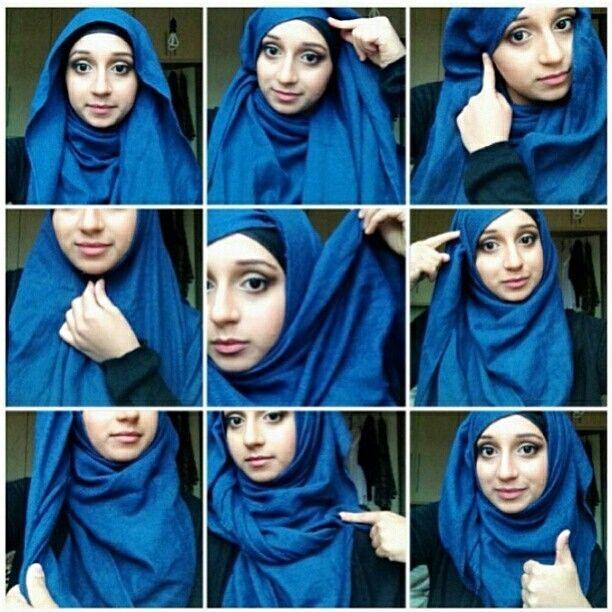 Hijab tutorial blue