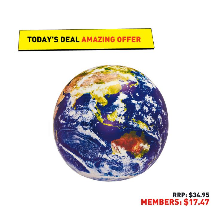 #50deals Day 40 - 24th June. Carry the whole world in your hands with today's Inflatable Globe. It's as it appears from space and even includes NASA imagery!