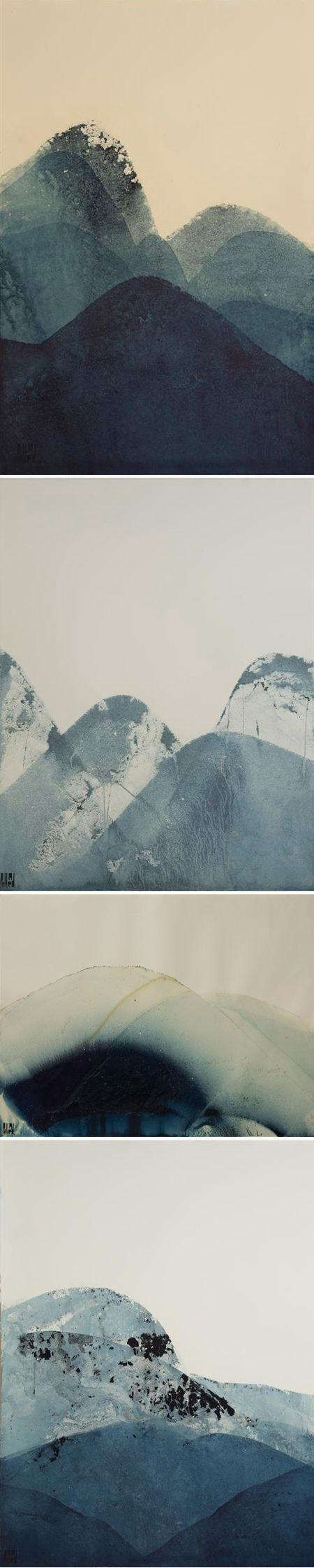Lynn Pollard - she makes these by dipping bent paper into indigo dye vats