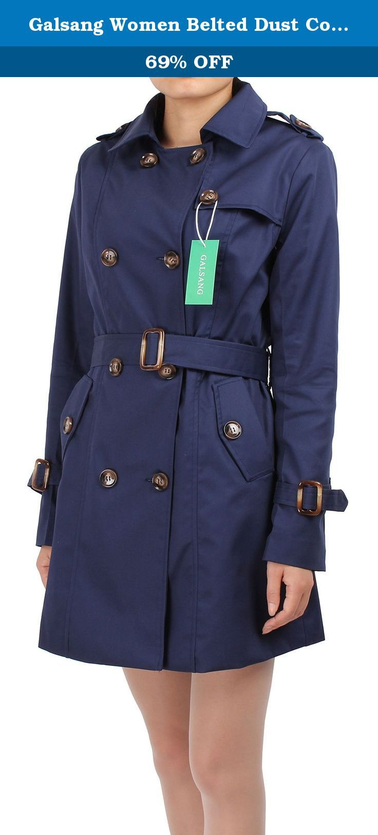 "Galsang Women Belted Dust Coats Navy Blue Cotton Trench Coat#G041 (Petite 12, Navy Blue). We are the team of ""GALSANG"".Galsang is registered by Blueblue Sky company and is exclusively distributed by Blueblue Sky.Galsang trademark is protected by US Trademark Law. Basic information: Brand: Galsang Color: Navy blue Size: petite 4,petite 6,petite 8,petite 12 Satisfaction guaranteed: If you are not satisfied, please don't leave us negative or neutral feedback right away. Please contact us via..."