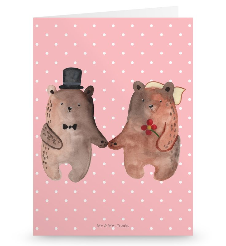 """Grußkarte Bär Heirat aus Karton 300 Gramm  weiß - Das Original von Mr. & Mrs. Panda.  Die wunderschöne Grußkarte von Mr. & Mrs. Panda im Format Din Hochkant ist auf einem sehr hochwertigem Karton gedruckt. Der leichte Glanz der Klappkarte macht das Produkt sehr edel. Die Innenseite lässt sich mit deiner eigenen Botschaft beschriften.    Über unser Motiv Bär Heirat  Der """"Just Married"""" Bär ist eine besonders liebevolle Zeichnung aus der Mr. & Mrs. Panda Beary Times Kollektion.    Verwendete…"""