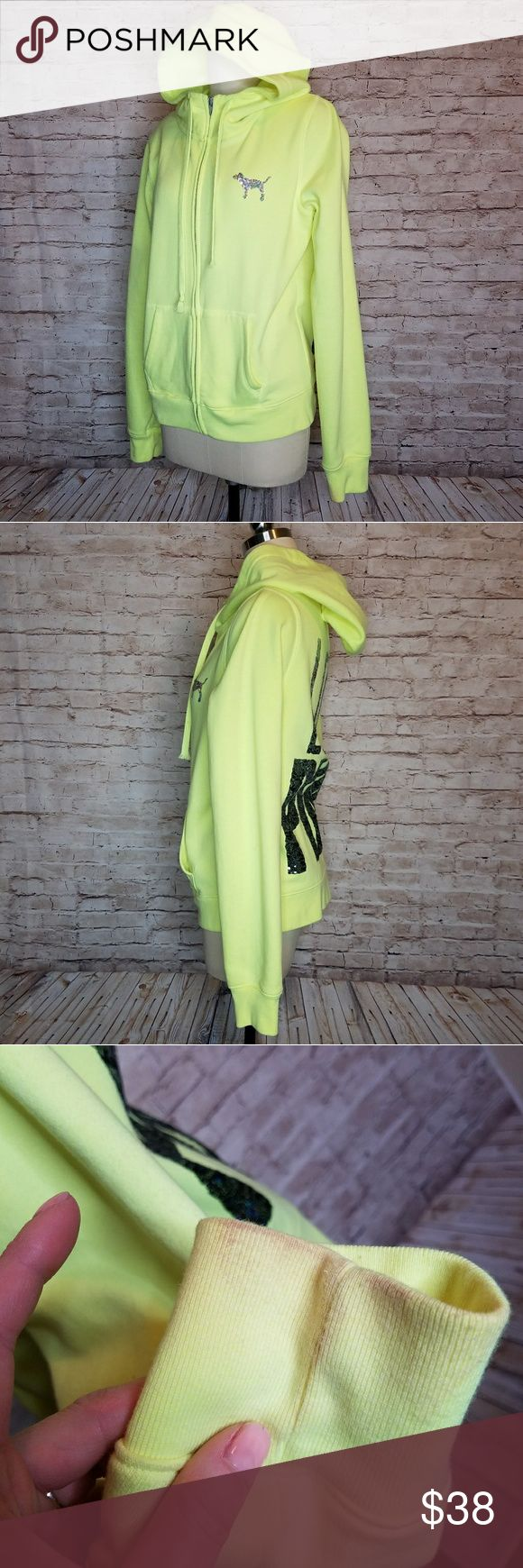 Victoria secret Pink Neon Yellow Sequin hoodie Up for consideration is a preowned womens VS Pink hoodie.  This top has some makeup marks on sleeves at hands and small marks overall. Great used condition !  Pit to pit approx 20in  Shoulder to hem approx 23in  /bin DD/ Victoria's Secret Tops Sweatshirts & Hoodies