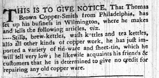 1773 Wilmington NC - Thomas Brown Copper Smith - wash kettles and stills for sale