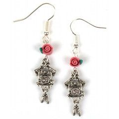 Quirky and whimsical cuckoo clock earrings! Antique silver plated charms, with pretty handmade pink polymer clay roses.The total drop is approximately 3 cm. On silver plated fish hook earrings.