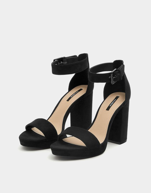 81f854cd7b47 Pull&Bear - woman - shoes - heeled shoes - black high heel sandals ...