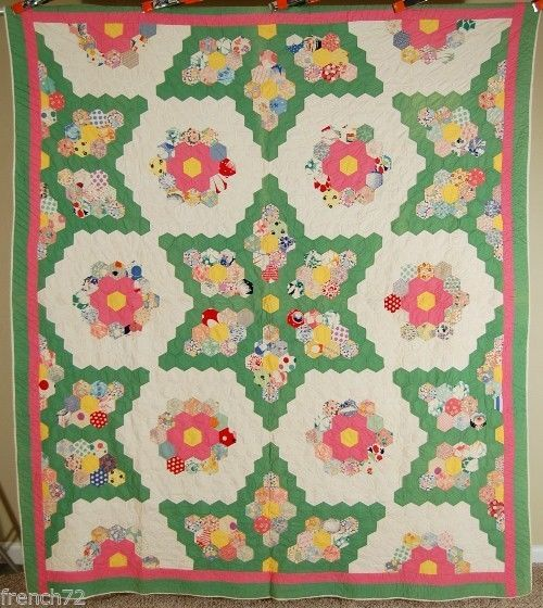 """Outstanding Vintage 30's Grandmother's Flower Garden Stars Antique Quilt   eBay french 72; hexagons are 1.5"""" per side; 82"""" x 90""""; quilting around perimeter of each piece and in a straight line design in the border at 7-8 stitches per inch; back and hand stitched binding are white, thin batting"""