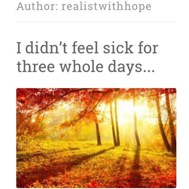 (Yay! I learnt how to do a screen shot :0)) I have just done another blog post about my #wellspell. I say well.... POTS was still playing up but my mast cell nausea went for three days. It was lovely. Predictably I am now back in the fug of #nausea. I did too much and actually thought I was better in those three day. Duh. Accepting-REALLY accepting #chronicillness is so hard. I should have limited what I did when I felt well. I should have stayed realistic. To be fair I did better than I…
