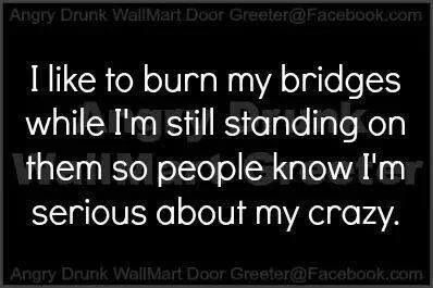 Actually I don't usually burn bridges but when I do I'm 100% sure I'm still standing on them