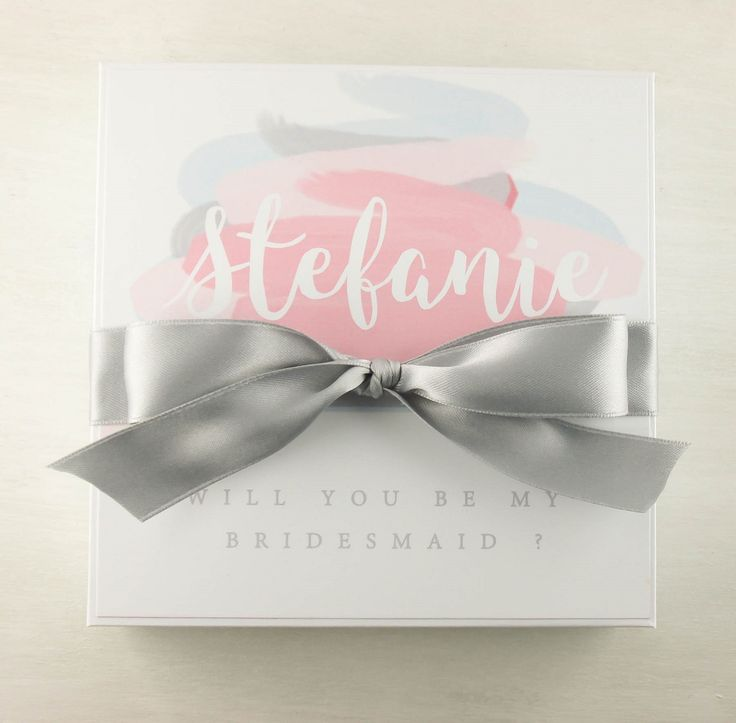 Personalized asking Bridesmaid box in grey Custom bridesmaid gift boxes ... See more on https://dressyourgift.myshopify.com/