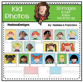 Kid Photos Clip Art Set This clip art set contains 36 image files in total, which includes 18 COLOR images and 18 BLACK & WHITE, each image is saved in its own 10 inch png file. All images are 300dpi for better scaling and printing, the b&w are filled in with white to allow layering.