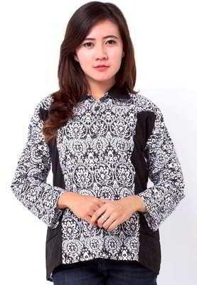 Contoh Model Kemeja Batik Wanita Lengan Panjang Terbaru Baju Batik