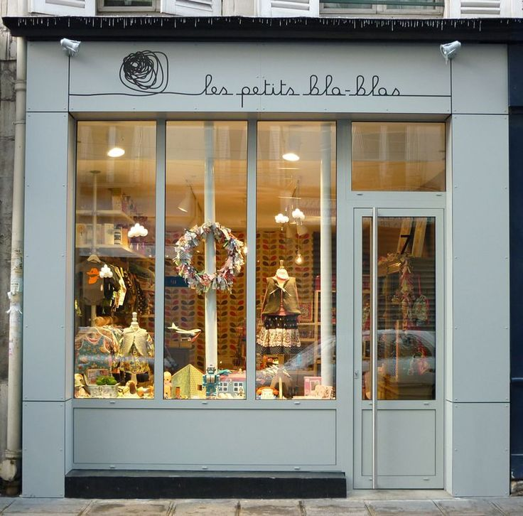 Les Petits Bla-Blas | Paris #shop #window #store #front #blue #script