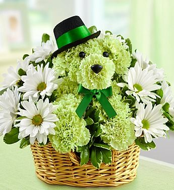 Meet Lucky, our St. Patrick's Day a-DOG-able! These dog shaped flowers are made out of fresh lime green carnations and are topped off with a top hat to make your favorite lad or lass feel lucky!  Deal of the Week! Save up to 33% on Sweet Spring Lilies, Over 50 Blooms, just $29.99! (Reg. $44.99). Order Now at 1800flowers.com (Offer Ends 03/15 or While Supplies Last) http://www.planetgoldilocks.com/flowers.htm #flowers #roses #bouquets #pinkroses #flowersales #flowercoupons #1800flowers…