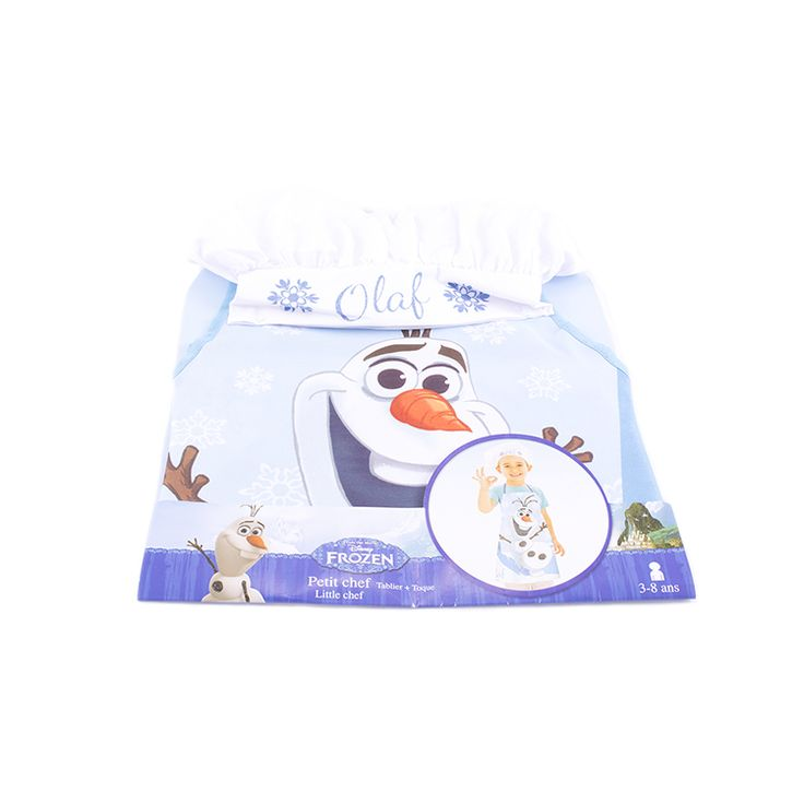 Protégé et à croquer pour cuisiner en famille avec ce tablier et cette toque Olaf  Les fans de l'adorable bonhomme de neige vont adorer ce kit de petit chef et ne voudront plus quitter la cuisine.