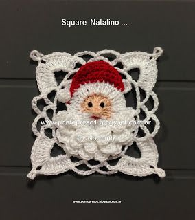 Ponto Preso1: Croche - Em tempos de NATAL, fiz um novo SQUARE This is the most impressive Christmas square crochet motif I have seen! It has a great Santa Claus face and I would love to have a chart or pattern! ~Lee Ann H (crochetgottaloveit.blogspot.com)