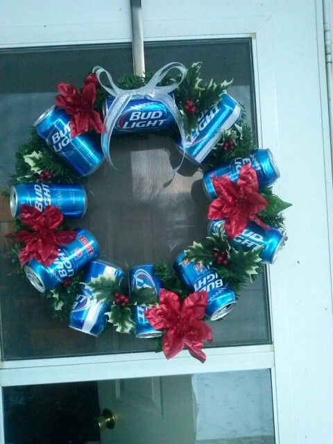 Christmas Beer Can Wreath.