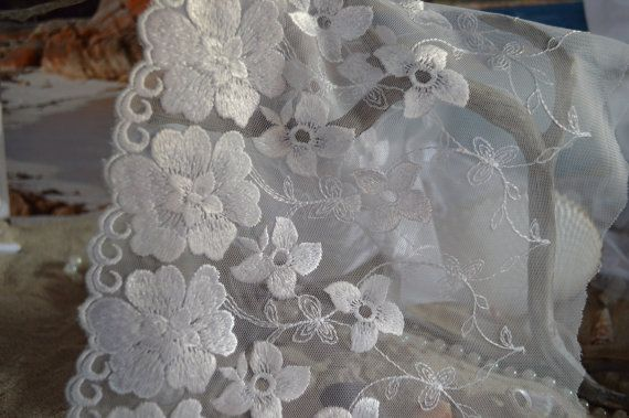 Lace white wide tulle floral design by TheQuiltedCheese on Etsy