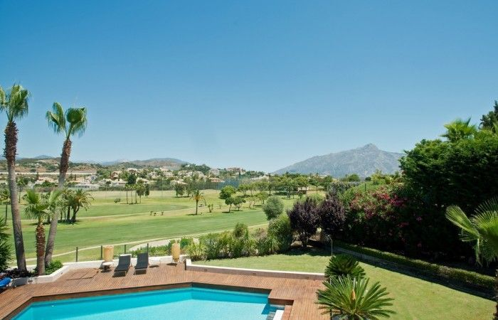 Los Naranjos Front line Golf Villa for sale.  Stunning Villa occupying a privileged front line golf postilion with golf and mountain views. Immaculately presented throughout with designer furnishings.