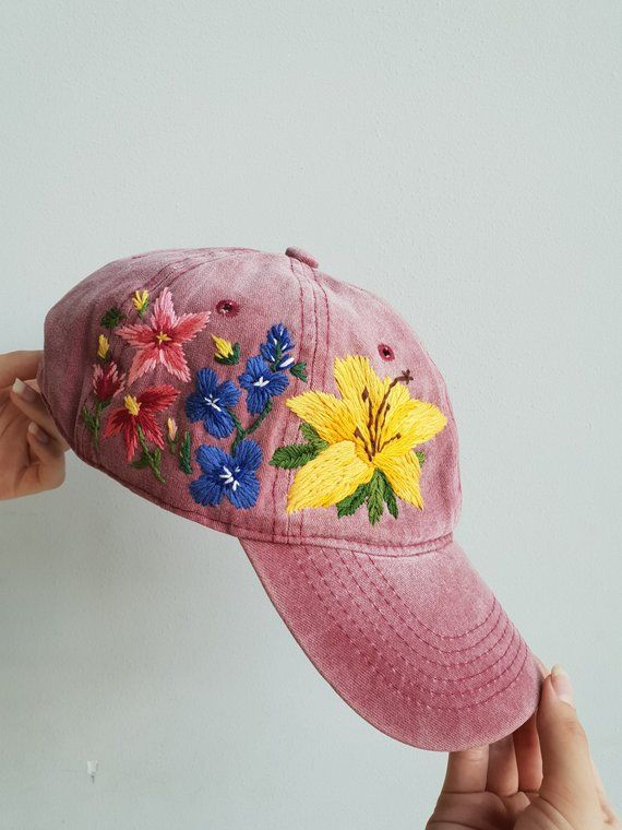 Embroider Flower Hat Hand Embroider Hat Embroider Cap Embroidered Hats Flower Hats Personalized Embroidery