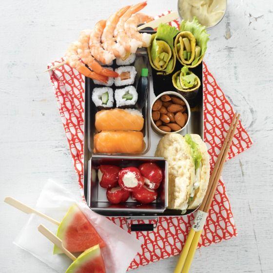 Tip: glutenallergie? Vervang de sushi door sandwiches van glutenvrij brood met mozzarella, parmaham en rucola. #lunch #recept #JumboSupermarkten