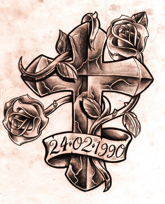 Cross with Roses and Ribbon Tattoo Design