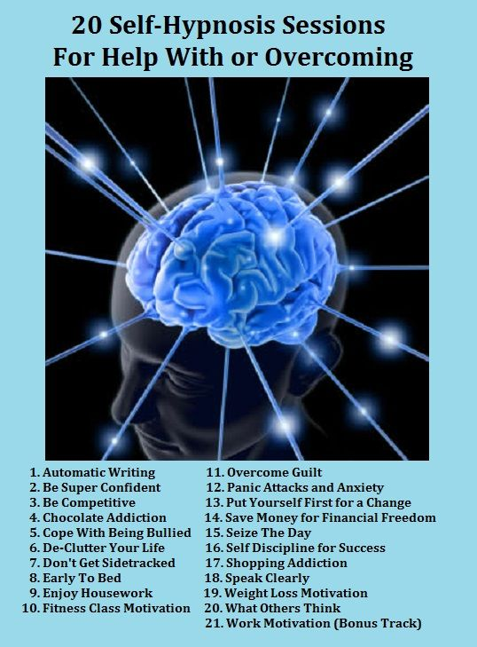 Hypnotherapy MP3 downloads 100% Satisfaction Guaranteed 20 SELF-HYPNOSIS Sessions To Help You IMPROVE YOURSELF! It's all in your mind, and all you need to do is change how you think to have a BETTER LIFE. Includes... Fitness Class Motivation and Weight Loss Motivation! For More Visit www.thanks2net.co...