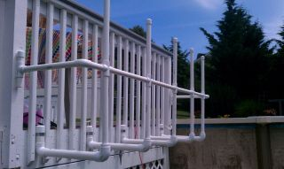 Different angle shows how pvc is attached for raft/float storage