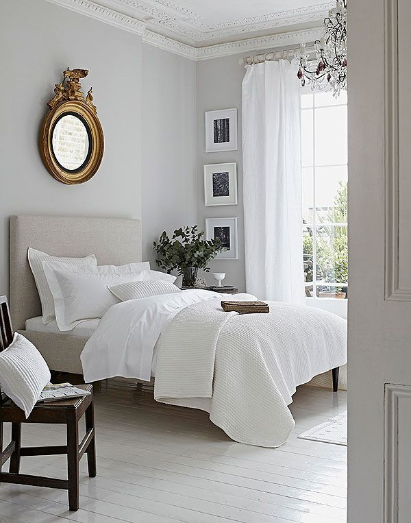 Neutral Bedroom Design In White, Gray, And Taupe That Combines Antique And  Modern Furniture