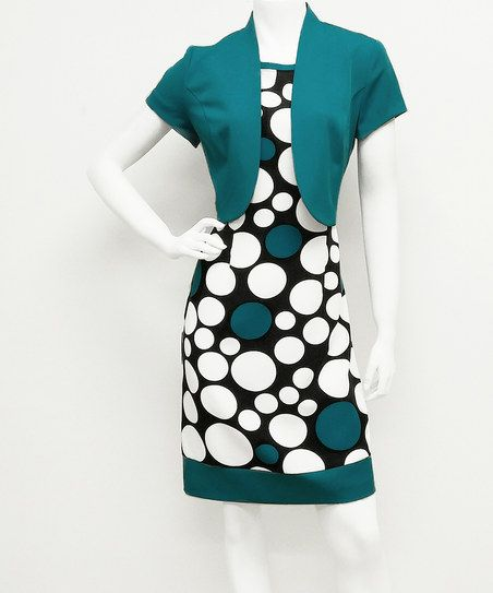 Black Mod Dot Dress & Turquoise Shrug