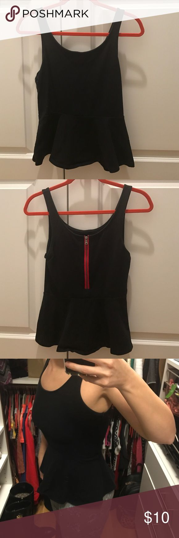 Express black tank top peplum small Worn only few times. Great condition. Black cotton express peplum tank with red zipper in back. Express Tops Tank Tops