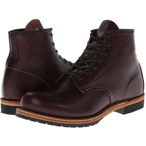 Red Wing Heritage Beckman 6 Round Toe (Black Cherry Featherstone)... ($350) ❤ liked on Polyvore featuring men's fashion, men's shoes, mens black lace up shoes, mens black shoes, mens round toe shoes, mens lace up shoes and mens leather shoes