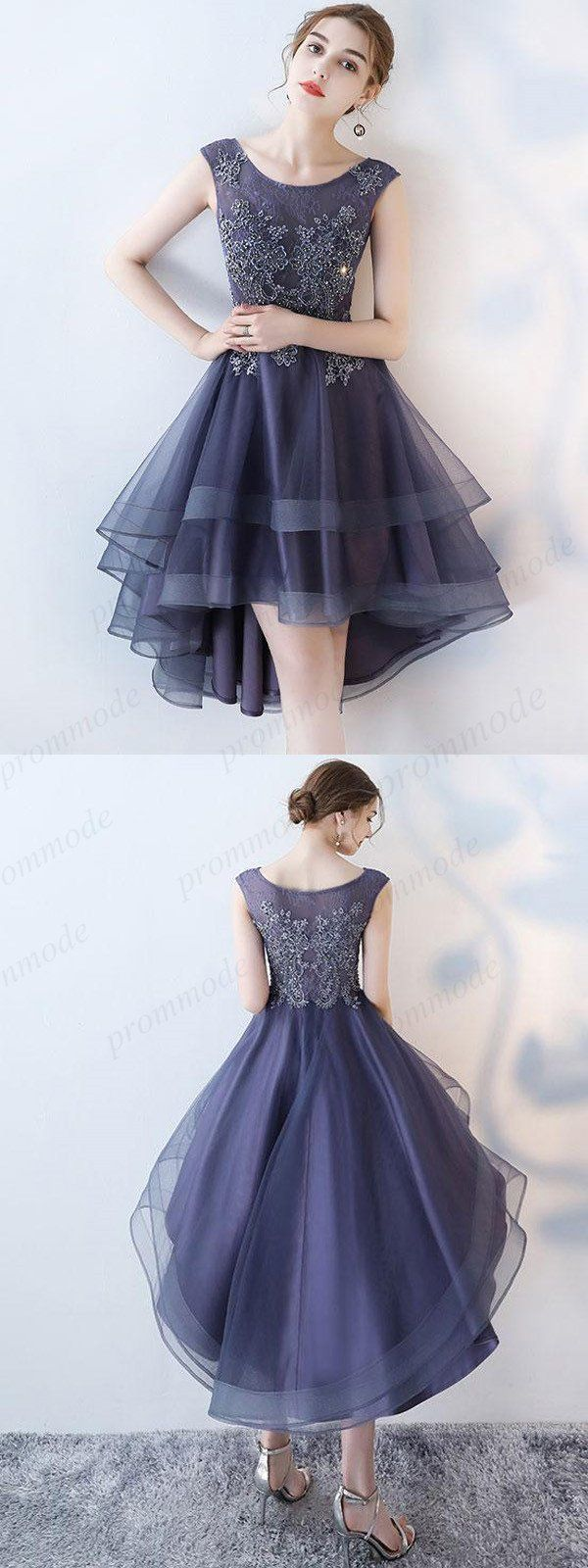 Purple Hi-lo Beaded Lace Homecoming Dresses,Unique Short Prom Dresses,BDY0215
