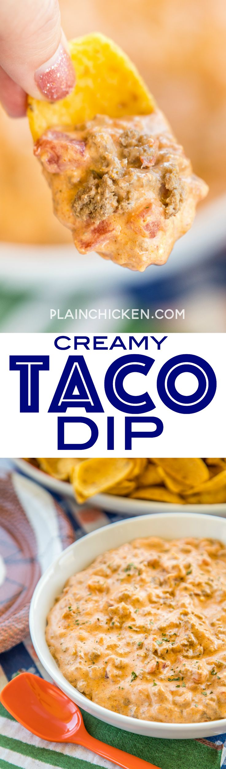 Creamy Taco Dip - only 4 ingredients and it's ready in 5 minutes!!! People go nuts over this easy Mexican dip recipe!! Serve with Fritos, tortilla scoops, celery or bell pepper slices. You might want to double the recipe, this is always the first thing to go!! Great for parties and tailgating.